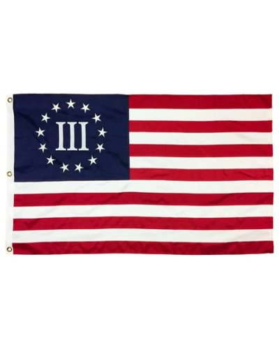 Betsy Ross Three Percenter printed polyester flag