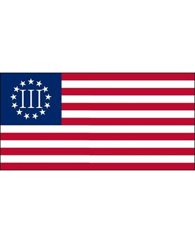 Betsy Ross (Nyberg Three Percenter) flag bumper sticker