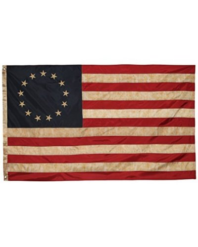 "Betsy Ross 3'x5' embroidered ""antiqued"" nylon flag"