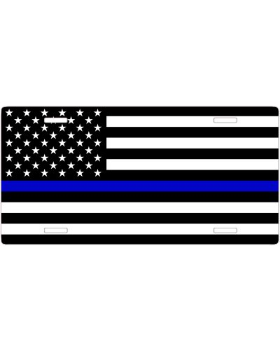 Blue Lives Matter US Flag no fade car tag