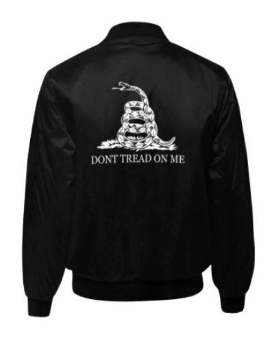 Gadsden Dont Tread on Me black quilted bomber jacket