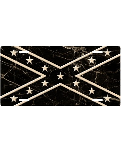 Black Marble Confederate Battle Flag car tag