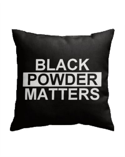 Black Powder Matters throw pillow