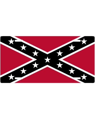 Bulldog Red and Black Confederate Battle Flag car tag