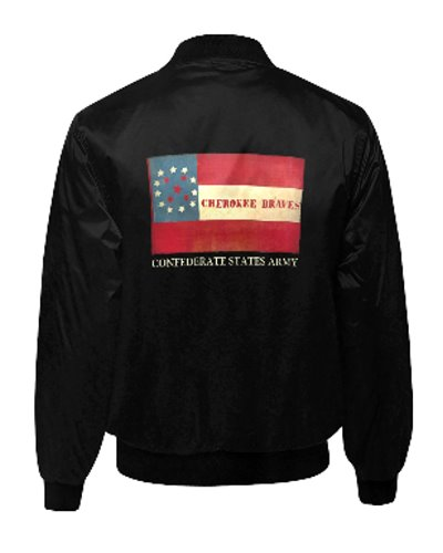 Cherokee Braves black quilted bomber jacket