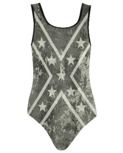 Concrete Camo Confederate Flag high-cut one-piece swimsuit