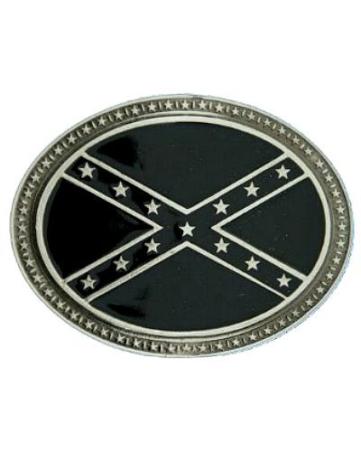 Confederate Army of Tennessee Battle Flag b/w oval belt buckle