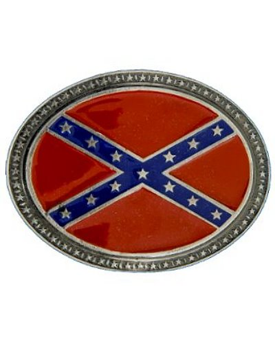 Confederate Army of Tennessee Battle Flag oval belt buckle
