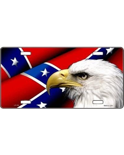 Confederate Battle Flag and Eagle car tag
