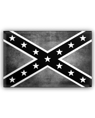 Confederate Battle Flag black and white grunge button