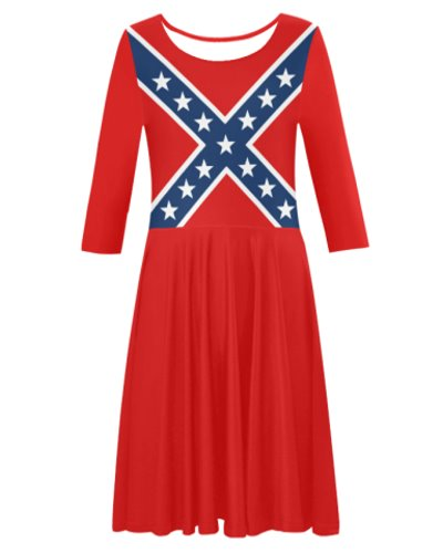 Confederate Battle Flag elbow sleeve pleated skirt dress