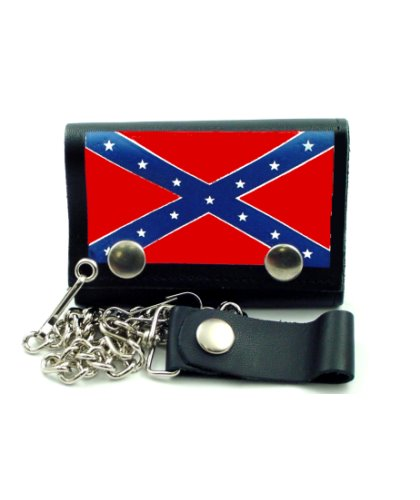 Confederate Battle Flag leather studded biker wallet