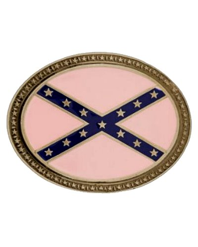 Confederate Battle Flag pink oval belt buckle
