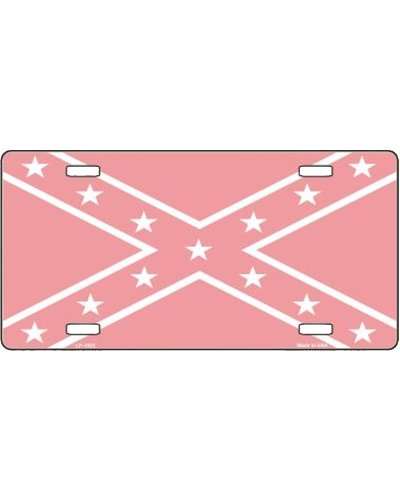 Confederate Battle Flag pink car tag