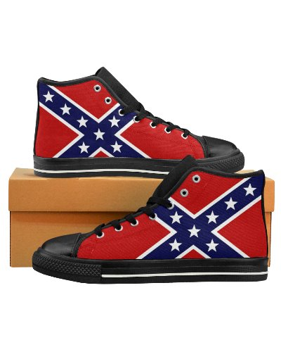 Confederate flag canvas high top sneakers