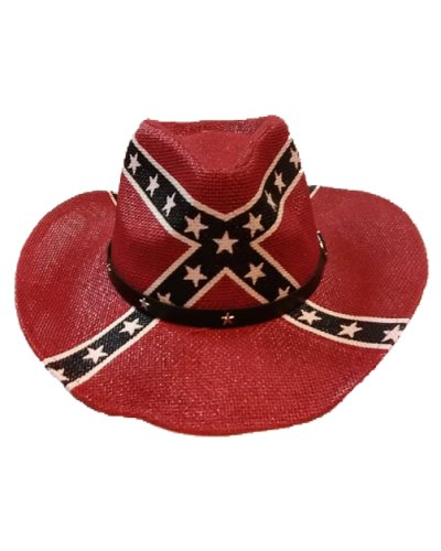 Confederate Battle Flag straw cowboy hat
