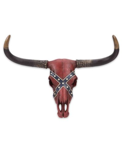 Confederate Flag Longhorn Skull wall sculpture
