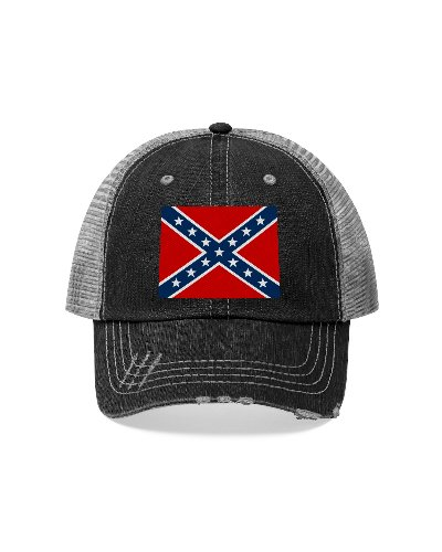 Confederate Flag distressed embroidered trucker cap