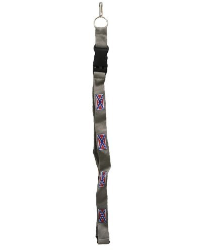 Confederate Battle Flag gray lanyard