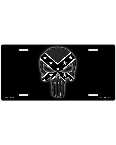 Confederate Punisher black and white no fade car tag
