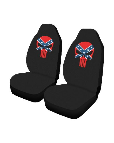 Confederate Punisher black car seat covers