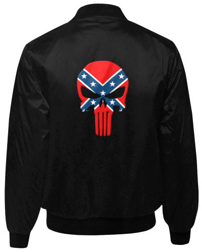 Confederate Punisher black quilted bomber jacket