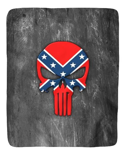 Confederate Punisher sherpa fleece blanket