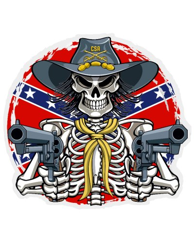 Confederate Skeleton With Pistols clear decal