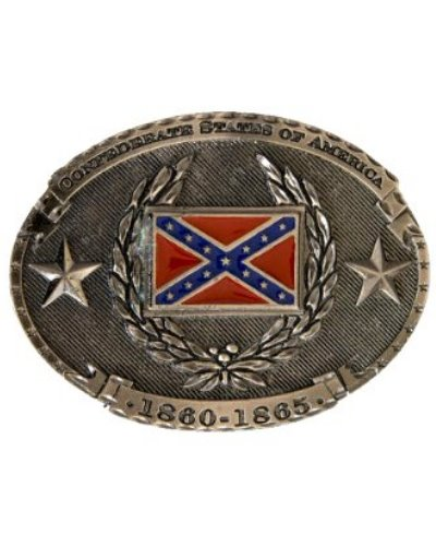 Confederate States of America Flag and Laurels belt buckle