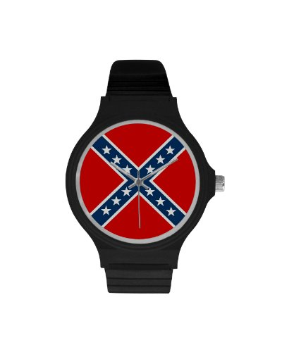 Confederate Battle Flag plastic band wrist watch