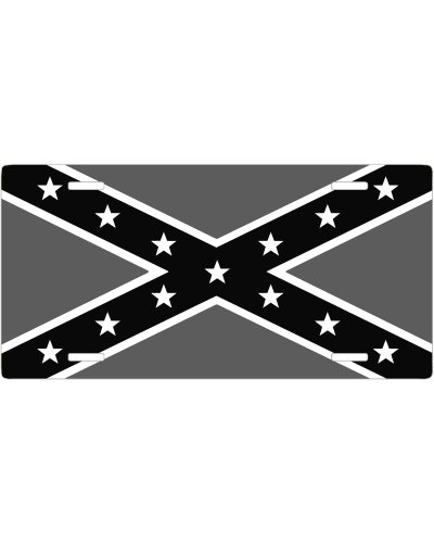 Confederate Battle Flag black and gray no fade car tag