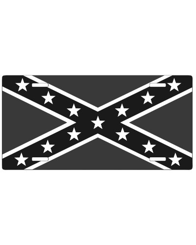 Confederate Battle Flag black and gray car tag