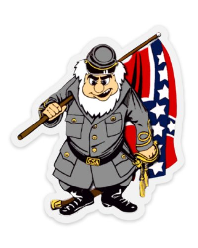Confederate Soldier cartoon character die cut clear sticker