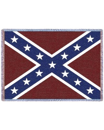 Confederate battle flag woven throw blanket