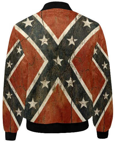 Cracked Concrete Confederate Battle Flag quilted bomber jacket
