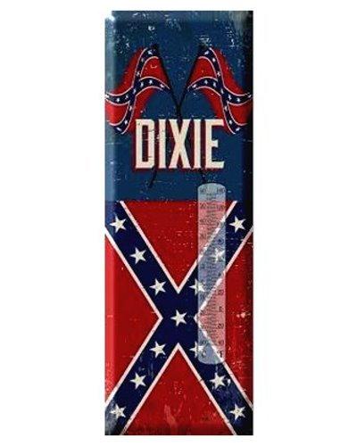 "Dixie crossed flags 17"" metal thermometer"