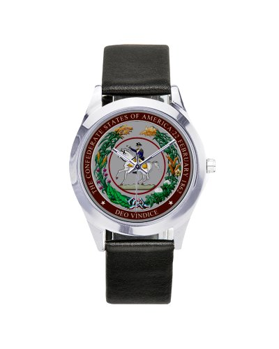 Great Seal of the Confederacy leather band wrist watch