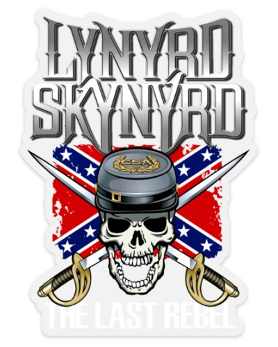 Lynyrd Skynyrd The Last Rebel CSA Skull clear die cut sticker