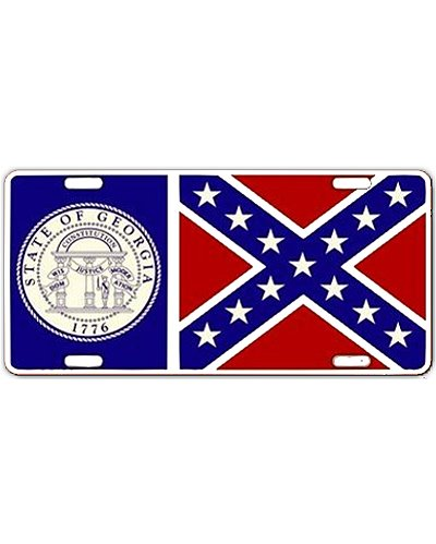 old Georgia State Flag embossed car tag