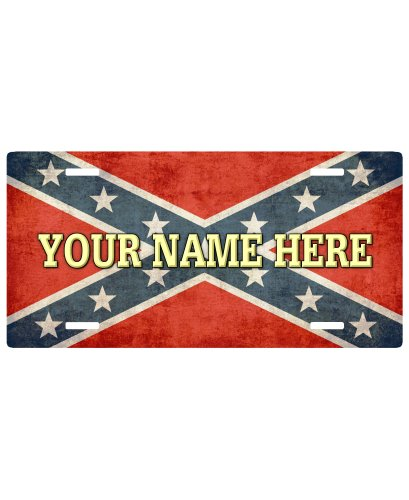 Personalized Confederate Flag car tag