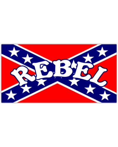 Rebel Confederate Battle Flag vinyl bumper sticker