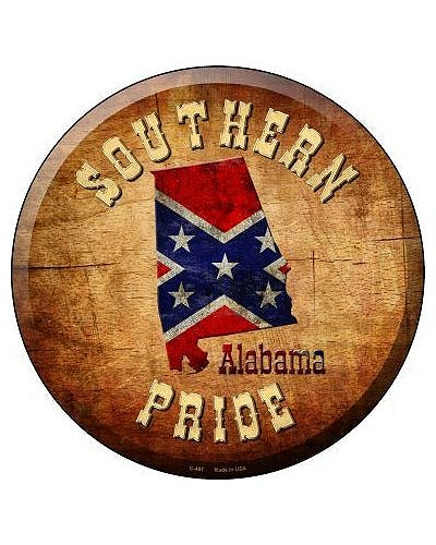 Southern Pride Alabama circular metal sign