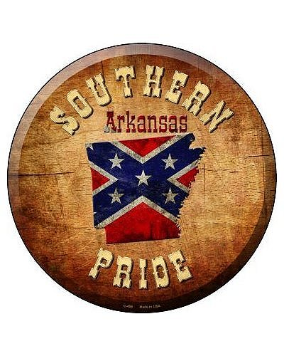 Southern Pride Arkansas circular metal sign