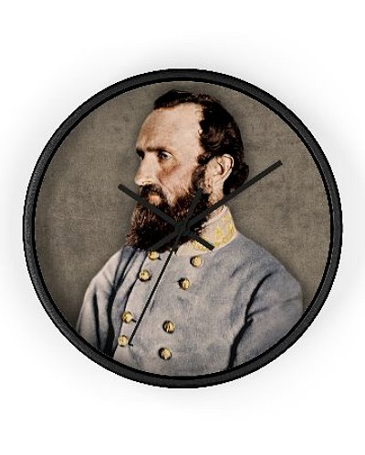 Stonewall Jackson colorized portrait wall clock