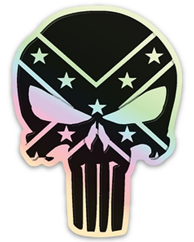 black and white Confederate Punisher holographic decal