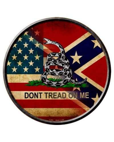 blended United States Confederate Gadsden circular metal sign