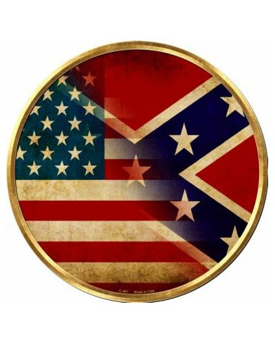 blended United States Confederate fade proof circular metal sign