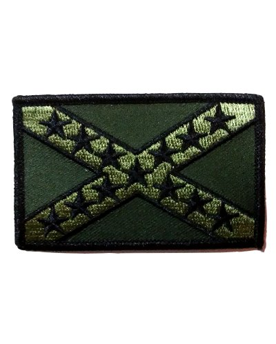 Confederate Battle Flag tactical green iron-on embroidered patch