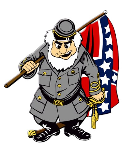 cartoon Confederate soldier die cut gel sticker