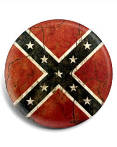 cracked concrete Confederate Battle Flag button